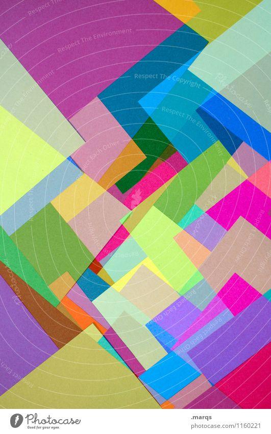 Schichtweise Stil Design eckig einzigartig mehrfarbig chaotisch Farbe Ordnung Papier Grafik u. Illustration Hintergrundbild Farbfoto Nahaufnahme abstrakt Muster