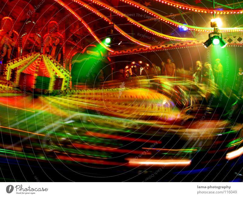PARTY ON! Jahrmarkt Frühlingsfest Attraktion Karussell Licht Glühbirne Neonlicht mehrfarbig glänzend Fahrgeschäfte Auto-Skooter Geschwindigkeit Aktion Schwung