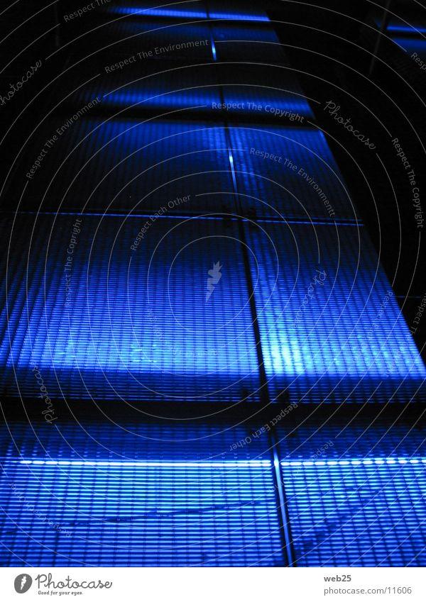 Blauer Weg blau Farbe dunkel Wege & Pfade Architektur Steg Gitter