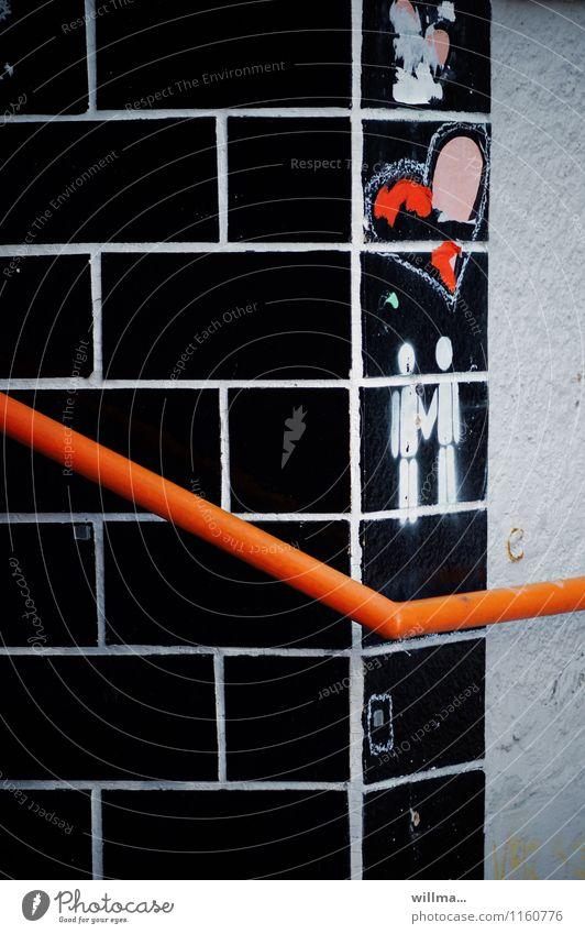 herzkurve Mauer Wand Herz Zeichen Graffiti rot schwarz weiß Zusammensein Liebe Treue Partnerschaft Geländer Farbfoto Menschenleer