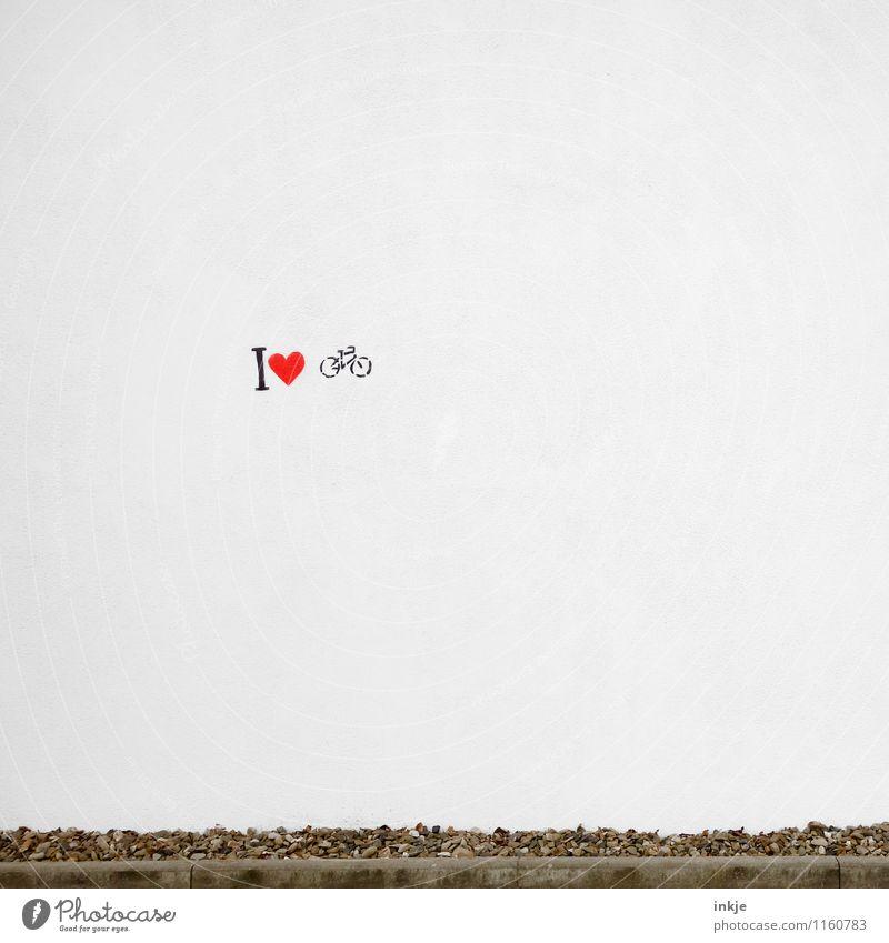 i herz fahrrad Lifestyle sportlich Fitness Leben Freizeit & Hobby Ausflug Fahrradtour Fahrradfahren Menschenleer Mauer Wand Fassade Zeichen Schriftzeichen