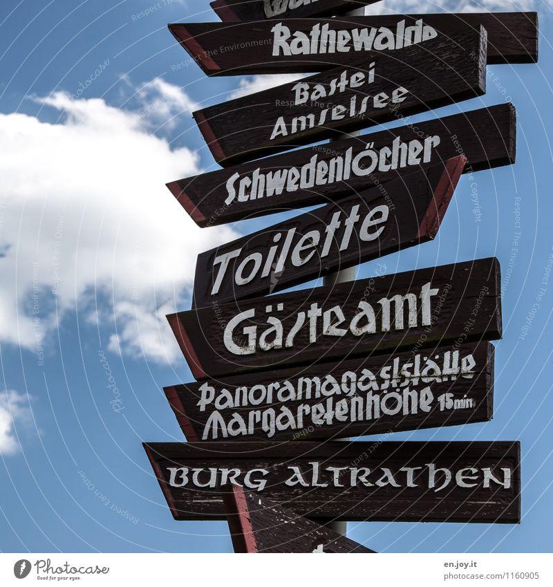 Das Wichtigste zuerst Himmel Ferien & Urlaub & Reisen blau Wolken Wege & Pfade braun Freizeit & Hobby Tourismus Schilder & Markierungen wandern Schriftzeichen