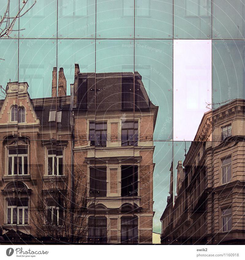 Gebäudescanner Himmel Stadt Baum Haus Fenster Wand Mauer Stein Deutschland Fassade Glas groß beobachten Dach Zweig