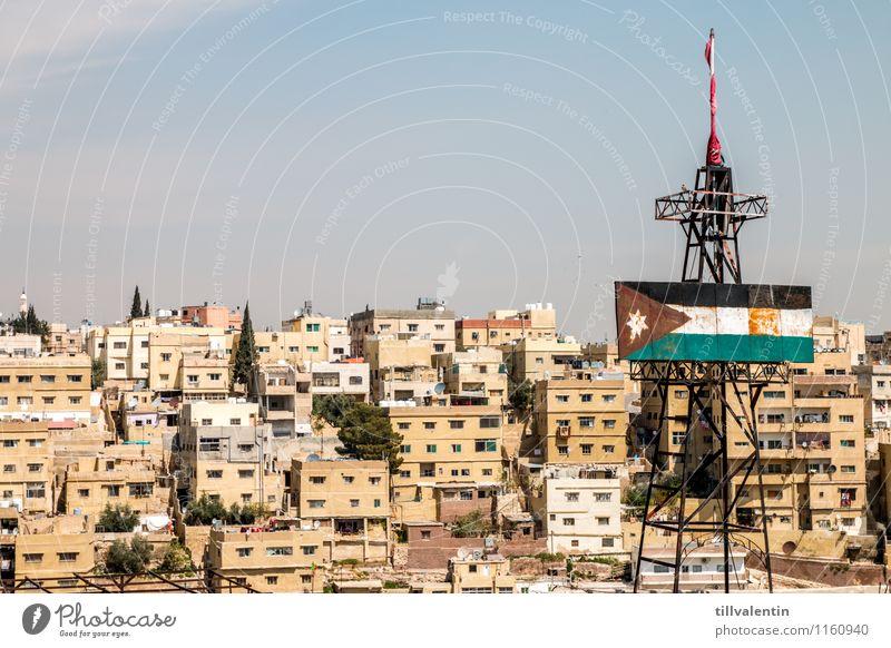 Stadtdächer Amman Jordanien Asien Hauptstadt Stadtzentrum Altstadt Skyline bevölkert überbevölkert Haus Hochhaus Turm Bauwerk Gebäude Architektur Strommast