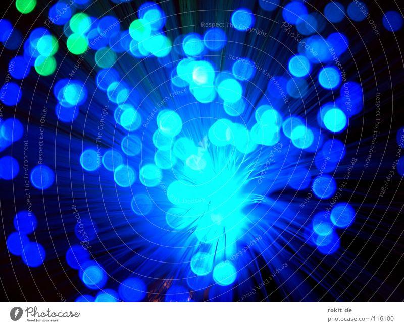 Blue dots schön blau Lampe dunkel Beleuchtung Kunst Technik & Technologie Punkt Lichtpunkt Kunsthandwerk Glasfaser hell-blau Elektrisches Gerät