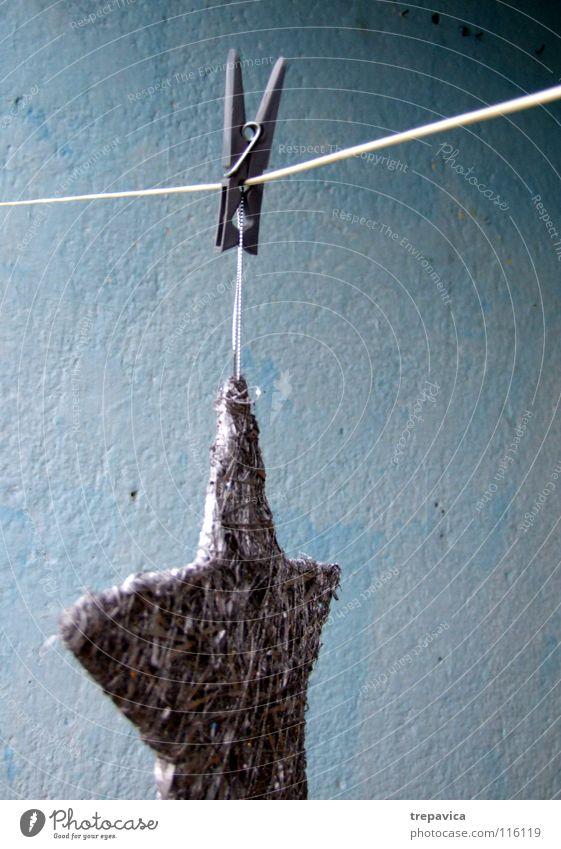 klammer II grau Klammer kalt Winter Wäscheleine trocknen Sauberkeit Dekoration & Verzierung Schneeflocke Eis blau silber Seil Stern (Symbol) waeschklammer