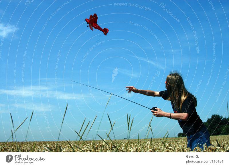 up*swing Modellflugzeug Kornfeld rot Fernbedienung Antenne Spielen Oberkörper Weizen Weizenfeld aufsteigen langhaarig blond Junger Mann himmelblau himmlisch