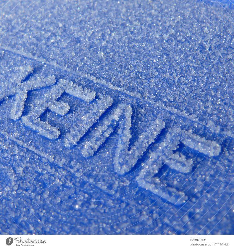 heiße Asche einfüllen blau Winter kalt Schnee Linie Eis Schriftzeichen Buchstaben Frost Müll Verbote Müllbehälter Raureif Grad Celsius Regel