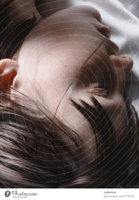 Goodnite II Frau Mensch Natur schön schwarz ruhig feminin Leben Gefühle Kopf Haare & Frisuren Stil Traurigkeit träumen Kunst Mund