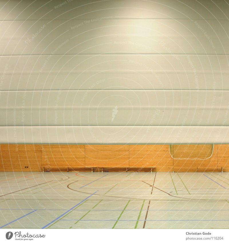 Dreifachhalle Sporthalle Wand automatisch Holzwand Bank Turnen Leichtathletik Sportveranstaltung Korb Konstruktion Lampe Architektur Ballsport Spielen