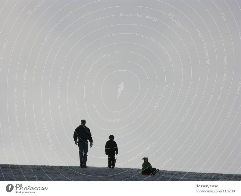 Kontrast 1 Freude kalt Schnee Spielen Berge u. Gebirge Wärme Familie & Verwandtschaft Eis Freizeit & Hobby Frost Schutz Gipfel Vater Mütze Eltern aufwärts
