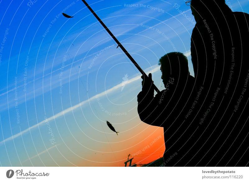 Angler Silhouette Himmel Meer Wolken Fisch Freizeit & Hobby Angeln Istanbul