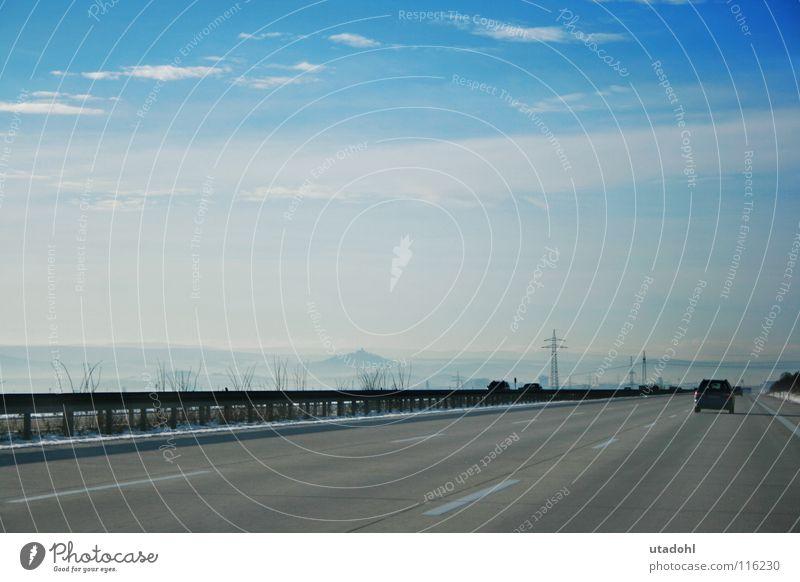 Long Road Sightseeing Himmel Winter Wolken Ferne Straße Schnee PKW Landschaft Horizont Autobahn