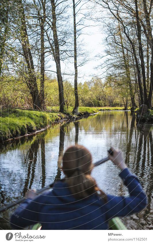 spree Mensch feminin Kopf 1 18-30 Jahre Jugendliche Erwachsene Abenteuer Paddeln Spree Spreewald Wasserfahrzeug Fluss Ferien & Urlaub & Reisen Natur