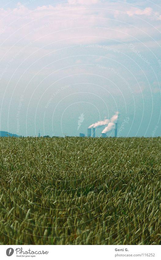 smokers Himmel blau grün Wolken Ferne Horizont Technik & Technologie hoch Industrie Landwirtschaft Rauch Fabrik Umweltschutz Korn Abgas Schornstein