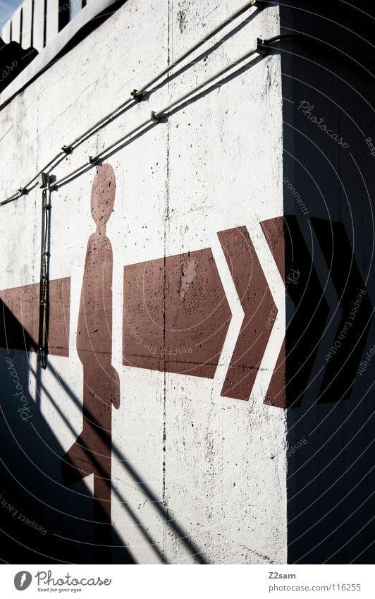 walking man gehen Gemälde Wand Garage Tiefgarage parken Parkdeck rot graphisch einfach abwärts Schilder & Markierungen Zeichnung Grafik u. Illustration Pfeil