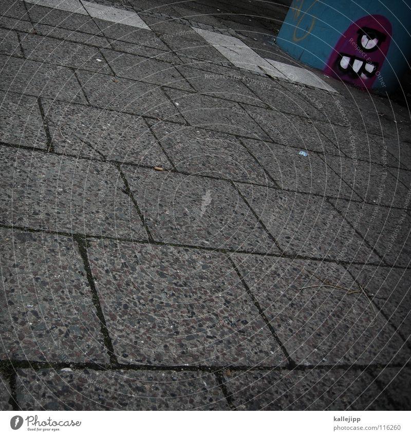 • ( blau Straße Graffiti Stein Kunst trist Bad Müll Bürgersteig Säule trashig Comic anonym Monster Computerspiel Straßenkunst