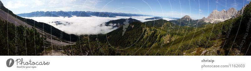 Panorama mit Dachstein Umwelt Natur Landschaft Himmel Wolken Horizont Klima Wetter Schönes Wetter Nebel Baum Hügel Felsen Alpen Berge u. Gebirge Gipfel