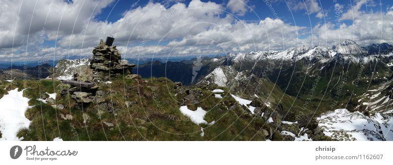 am Gipfel Himmel Natur blau schön Erholung Einsamkeit Landschaft Wolken Freude Ferne Umwelt Berge u. Gebirge Gefühle Frühling Schnee Glück