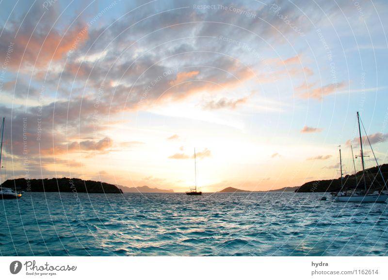 unendliche Weiten Himmel Ferien & Urlaub & Reisen blau Sommer Wasser Erholung Meer Wolken Ferne Küste Horizont orange Wellen Wind Insel Schönes Wetter