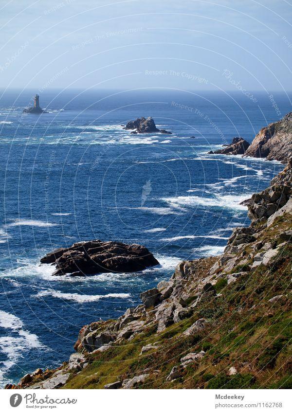 Pointe du Raz Umwelt Natur Landschaft Pflanze Tier Erde Wasser Himmel Wolken Horizont Sommer Wetter Schönes Wetter Wind Gras Küste Meer frisch Unendlichkeit