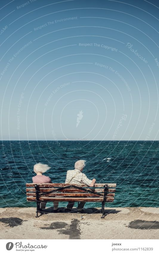 Wind-Stille Ferne Weiblicher Senior Frau Männlicher Senior Mann Paar Partner Leben 2 Mensch 60 und älter Sturm Wellen Küste Gefühle Treue ruhig Langeweile