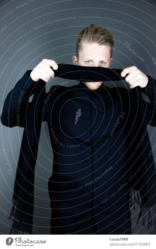 Anonymisierung Lifestyle Stil sprechen Mensch maskulin Junger Mann Jugendliche Erwachsene 1 18-30 Jahre 30-45 Jahre Mode Bekleidung Hemd Schal kurzhaarig