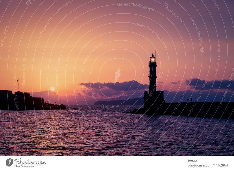 Chania Tourismus Ferne Freiheit Sommer Wasser Himmel Wolken Horizont Sonne Sonnenaufgang Sonnenuntergang Schönes Wetter Wellen Insel Kreta Hafen Leuchtturm