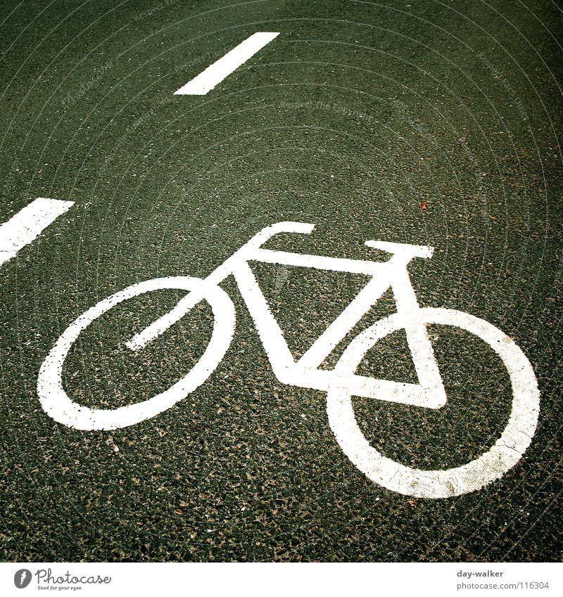 Flachgelegt Asphalt Symbole & Metaphern Fahrrad Streifen Radrennen Straßenverkehr Gegenverkehr Seitenstreifen Straßennamenschild Zeichen Schilder & Markierungen