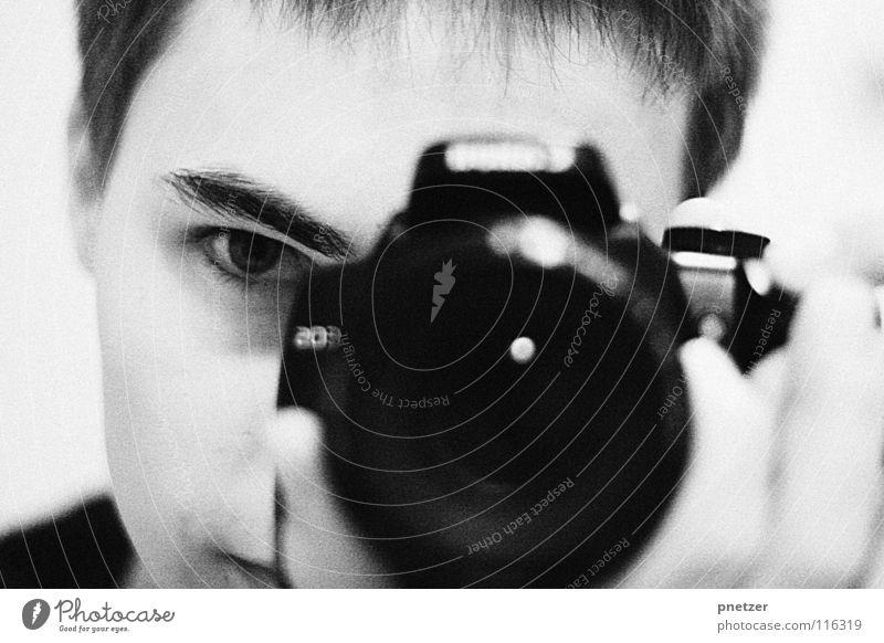 Ich Porträt schwarz weiß Fotograf Mann Spiegel Freude Fotografie selbst Fotokamera Objektiv Auge