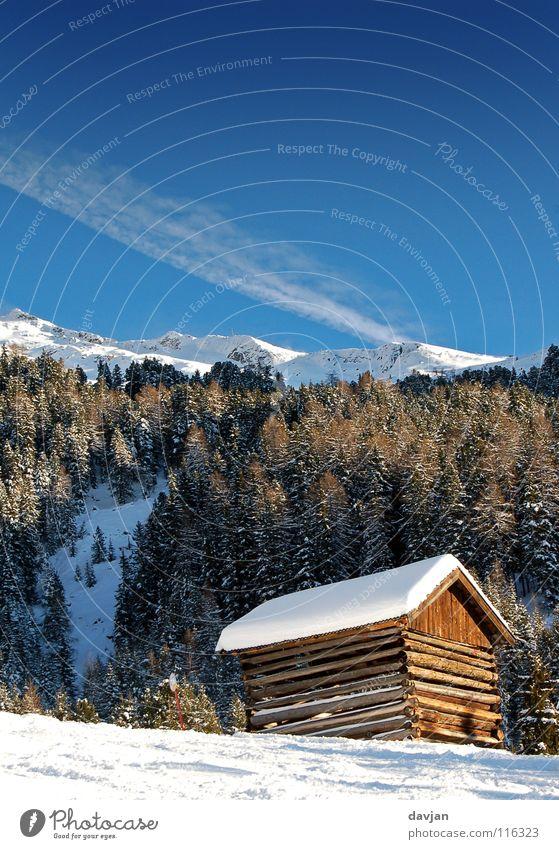 Hütte Himmel weiß blau Winter ruhig Wolken Schnee Berge u. Gebirge Spitze Gipfel Österreich massiv Bergkamm