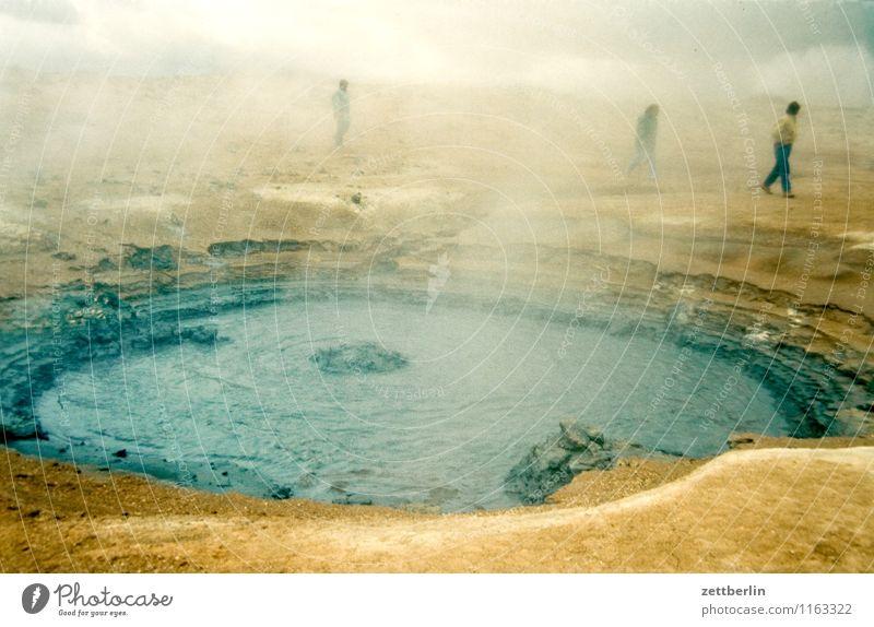 Island (21) Mensch Himmel Natur Ferien & Urlaub & Reisen Wasser Wolken Ferne kalt Berge u. Gebirge Reisefotografie Menschengruppe Felsen Nebel Tourismus wandern
