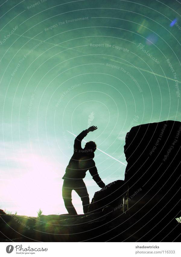 ICH BIN FREI! Gegenlicht Rastalocken rein Hügel Mensch Himmel Freiheit Sonne Silhouette Natur natur pur Wildtier wildlife Berge u. Gebirge Perspektive natürlich