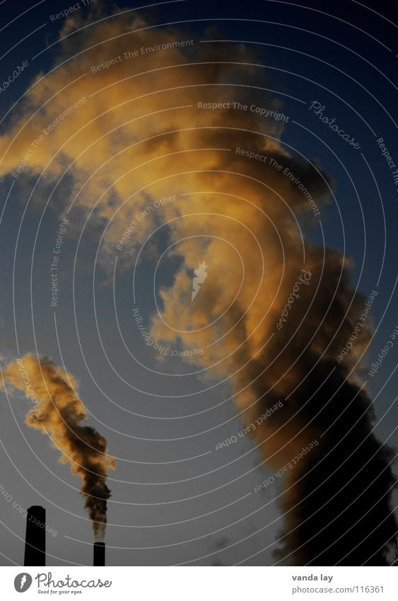 Rauch Kohlekraftwerk Sonnenuntergang Dämmerung heizen Umwelt Umweltverschmutzung Kyoto Luft Umweltsünder Industrie gefährlich Turm Wasserdampf Stromkraftwerke