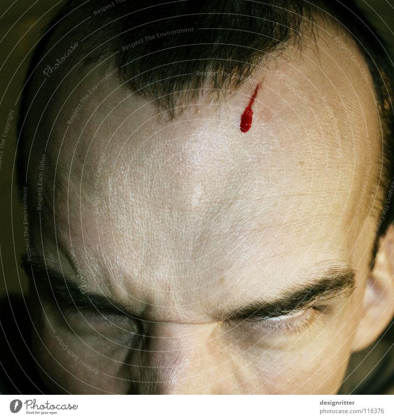 Kopfzerbrechen Kopf Denken gefährlich verrückt Wut Gedanke Blut brechen Aggression Ärger geschnitten Schlag Explosion Stirn Wunde