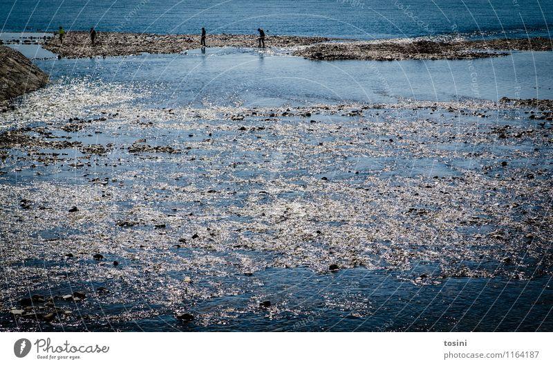 Am Fluss Mensch blau Wasser Flussufer Flußmündung Strömung Schwimmen & Baden Seeufer Sommerurlaub Farbfoto Außenaufnahme Textfreiraum unten Textfreiraum Mitte
