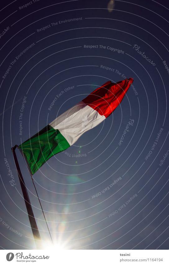 Bella Italia II Himmel Ferien & Urlaub & Reisen grün weiß rot Wind Europa Italien Zeichen Stoff Fahne Sommerurlaub wehen Stolz Nationalitäten u. Ethnien