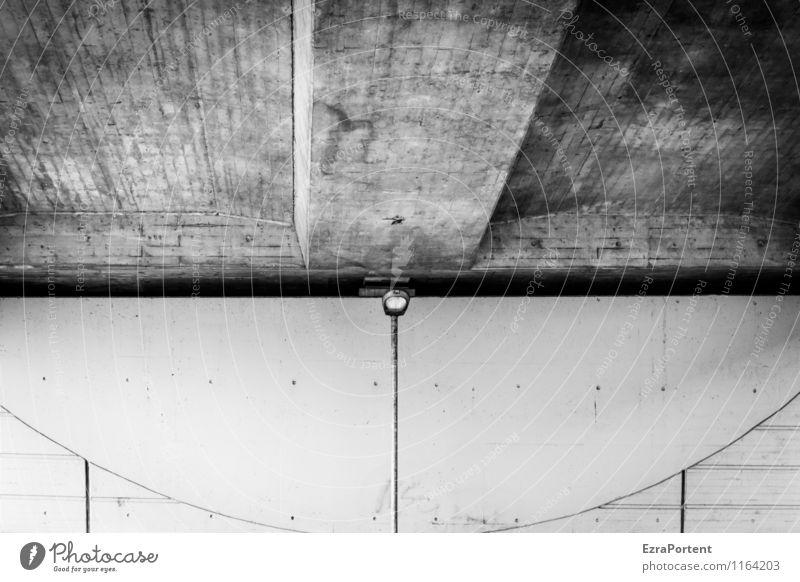 irgendwie doch freundlich Stadt Bauwerk Gebäude Architektur Mauer Wand Fassade Beton Linie ästhetisch dunkel Design Laterne Punkt gestalten unten Brücke