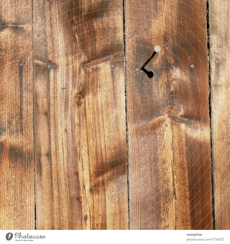 finalisieren Zaun Holz Nagel Bretterzaun braun genagelt Bauernhof Baum Holzbrett Scheune Wand Handwerk Handwerker Heimwerker Baumarkt heimwerken Maserung Natur