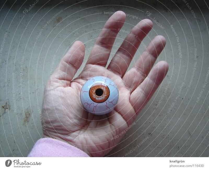 Unecht Hand Handfläche Pupille Finger Handlinie Vergänglichkeit obskur Auge Braunauge