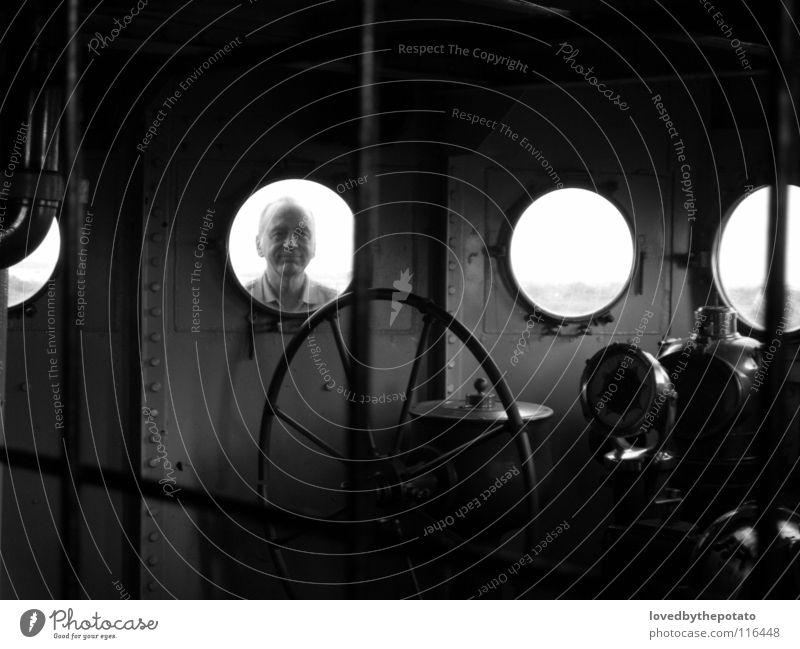 Guguck! Wasserfahrzeug Kompass Schifffahrt Porthole Brücke Schwarzweißfoto USS TEXAS Glass San Jacinto State Park