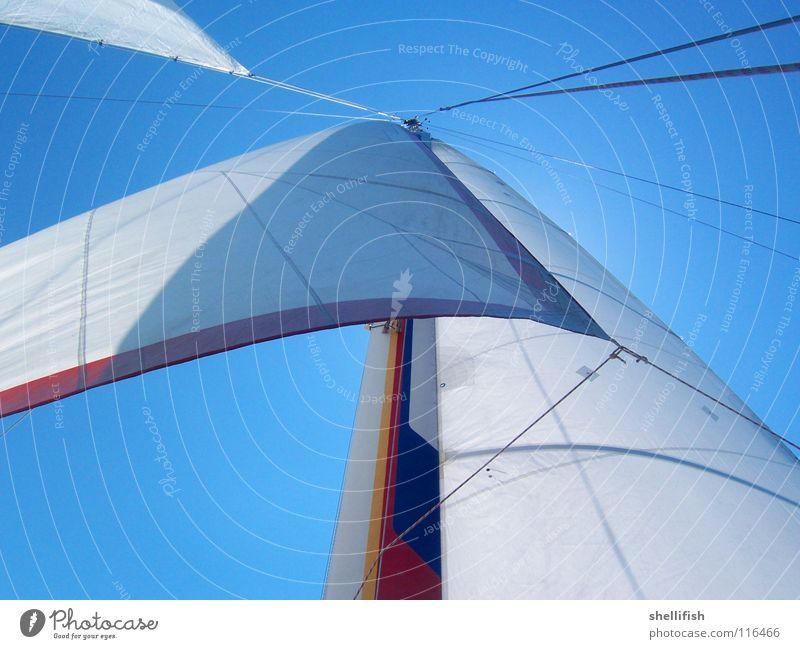 abstraktes Segeln Wasserfahrzeug Jacht leicht Leichtigkeit luftig Stoff Segelschiff Segelboot Katamaran Außenaufnahme Wassersport blau Himmel Kurs Meer Schiff