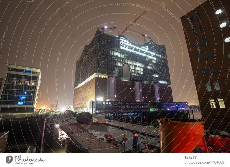 Elbphilharmonie Nachts I Kunst Musik Musik hören Oper Opernhaus Hamburg Stadt Hafenstadt Skyline Bauwerk Gebäude Architektur Fassade Sehenswürdigkeit
