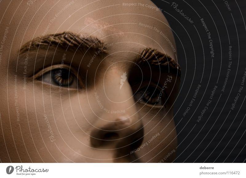Nahaufnahme der Augen und Nase einer männlichen Schaufensterpuppe. Kerl Mann falsch Fälschung Porträt Glatze braun Dekoration & Verzierung Puppe Typ Kumpel