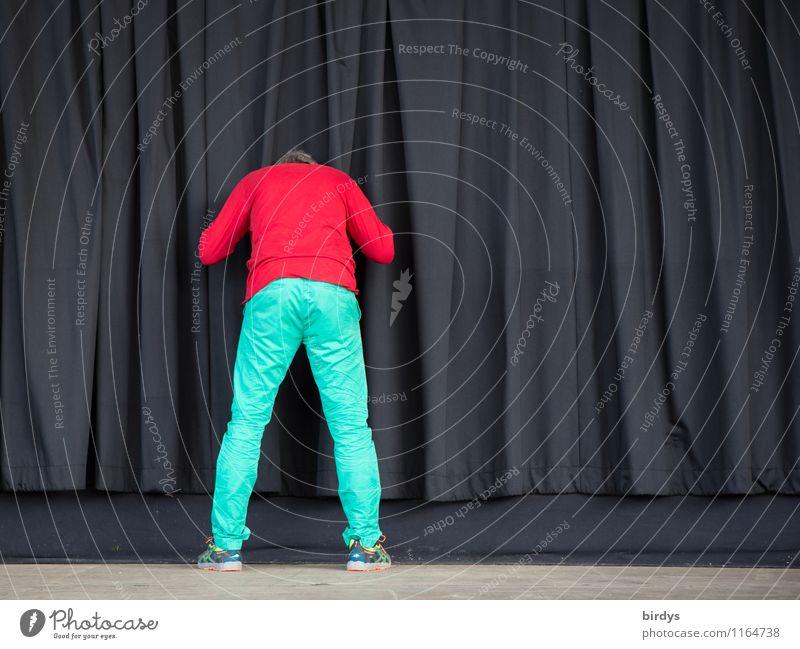 Die unstillbare Neugier des IM Krause Mensch Jugendliche Mann grün rot Junger Mann 18-30 Jahre schwarz Erwachsene lustig maskulin 45-60 Jahre ästhetisch beobachten Kultur Neugier