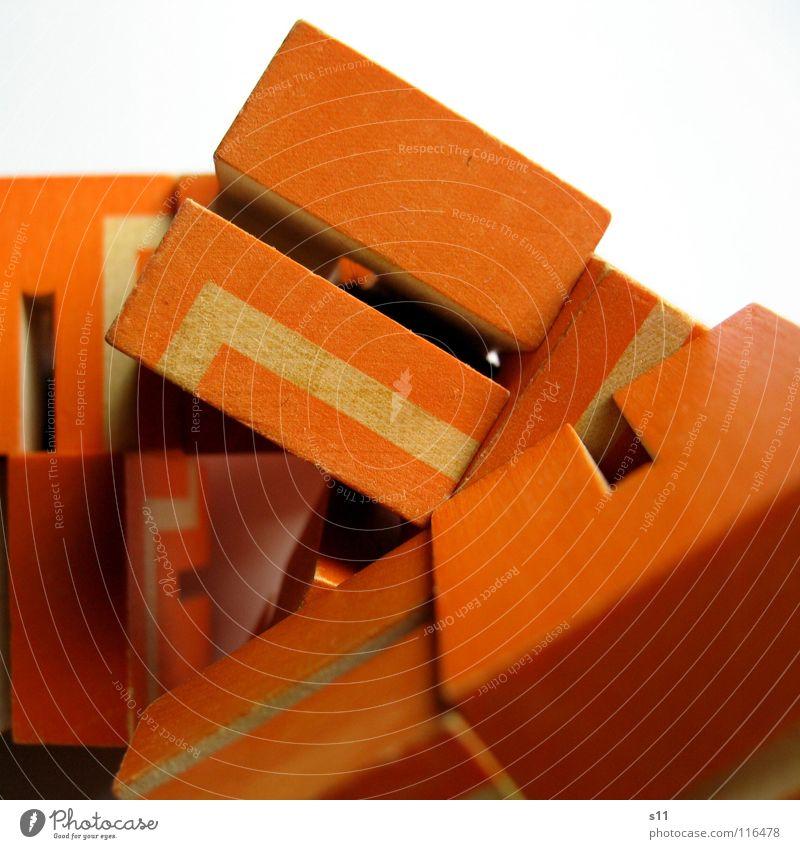 Rätsel Würfel weiß Spielen Wege & Pfade Linie orange mehrere Langeweile Würfel Rätsel Haufen Makroaufnahme