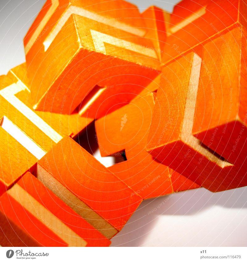 Rätsel Würfel II weiß Spielen Wege & Pfade Linie orange mehrere Konzentration Haufen