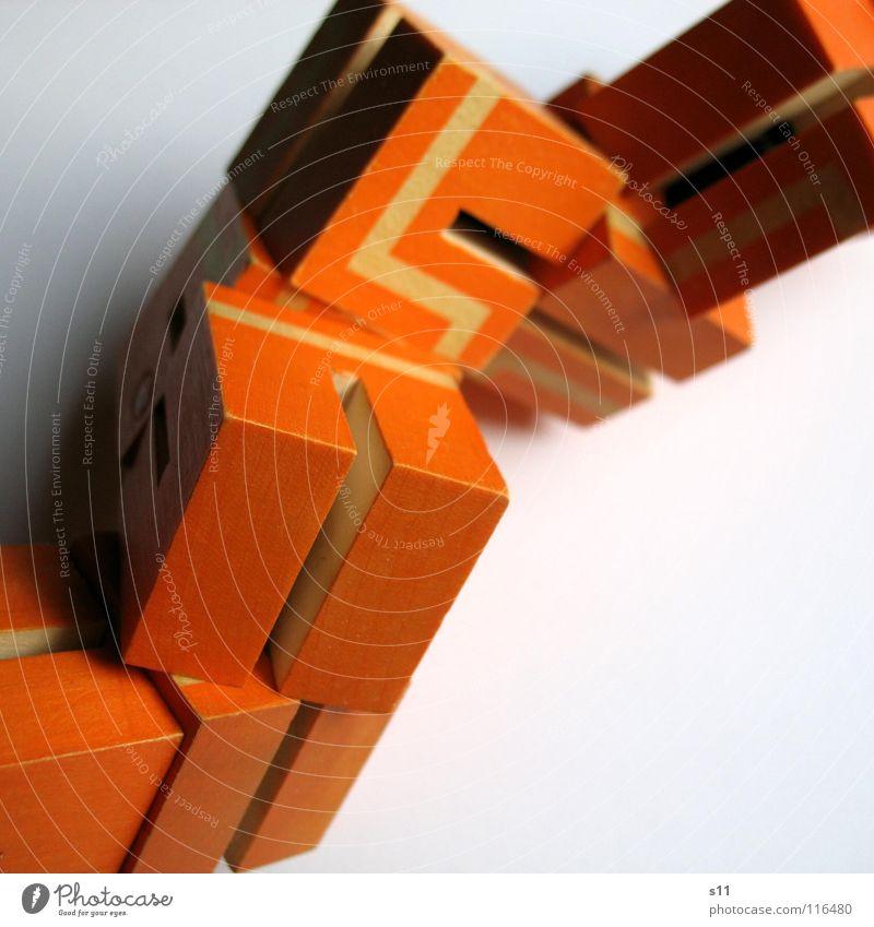 Rätsel Würfel III weiß Freude Spielen Wege & Pfade Linie orange mehrere Haufen