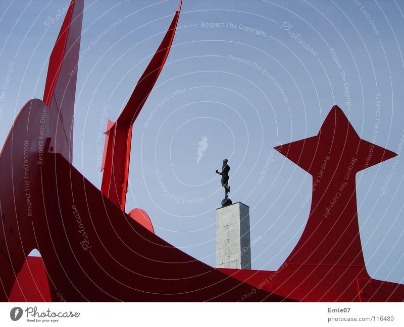 black and red Hannover Maschsee Nordufer Kunst Kultur Fackelträger Südstadt Hellebardier Alexander Calder rote Stahlplastik