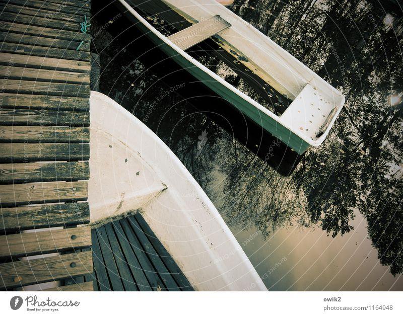 Am Steg Umwelt Natur Wasser Schönes Wetter Seeufer geduldig ruhig Idylle Ruderboot 2 Anlegestelle unten Pause Holz Kunststoff Windstille Farbfoto
